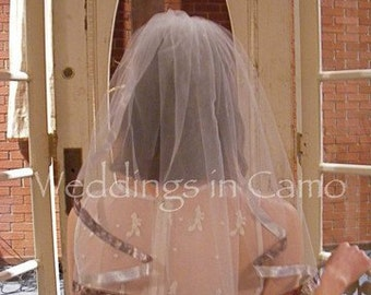 Camo Ribbon Single Layer Trimmed Veil