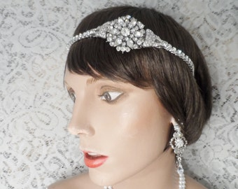 Bridal headband bridal hair accessories TRUE VINTAGE headband art deco headband rhinestone headband 1920's bridal accessories