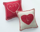 SET of 2 Valentines Personalized Heart Burlap Pillows
