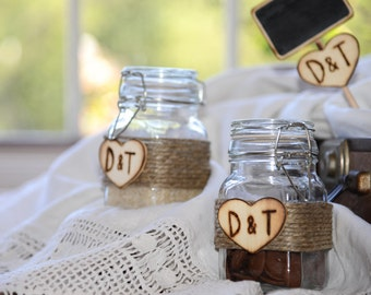 Personalized Wedding Favor Glass Jars with Bride and Groom initials Engraved in Wood Heart set of 2 jars