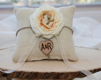 Ivory Ranunculus flower custom ivory burlap ring bearer pillow  shabby chic with engraved heart  initials... many more colors available