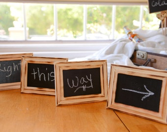 Set of 5 Custom  Rustic Distressed Stand alone Wedding chalkboards  can be used as table numbers, home decor, photo props