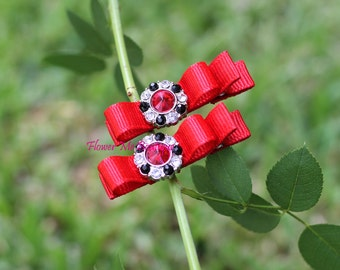 Baby Hair Clips, Red, Christmas, Valentine's Day, Hair Clips, Hair Bows, Baby Toddler, Infant, Newborn, Flower Girl, Rhinestone, Hairbows