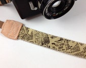 DSLR Camera strap---brown mix newspaper
