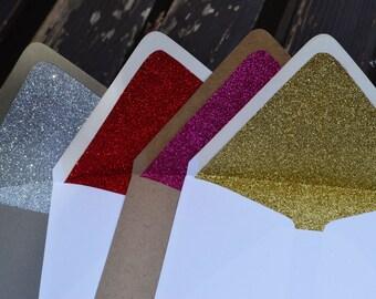 You Choose Color Glitter Lined Envelopes 4-Bar Size - Set of 10
