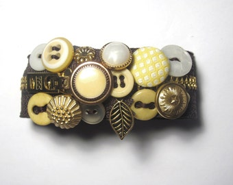 Dark Brown Yellow and Cream Zipper Bracelet