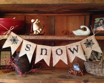Snow Bunting, Winter Bunting, Holiday Garland, Christmas Bunting, Burlap Bunting