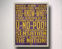 YOU NO POO / Weasley Wizard Wheezes / Propaganda Poster / Harry Potter Poster / Harry Potter Art
