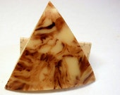 Celluloid Button, 45mm Huge Triangle, Cream & Brown Marbled Vintage Button