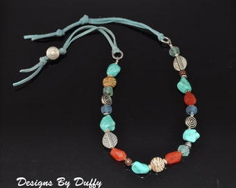 Colorful Beaded Necklace - Turquoise, Carnelian, Recycled Glass
