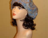 "Felted  "" Curly""  Cap Hat Beret beige Blue wool"