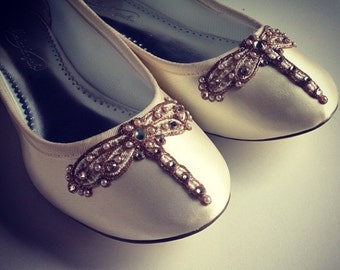 Wedding Shoes - Dragonfly Closed Toe Flats - Lace, Crystals and Pearls - Ivory/White/Custom Colors
