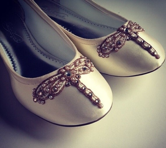 Art Deco Ivory Dragonfly Ballet Flats Wedding Shoes - Any Size - Pick your own shoe color and crystal color