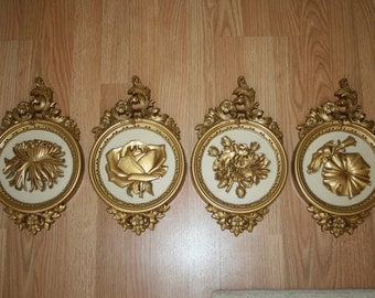 Vintage Gold Floral Wall Plaque Set of Four by Syroco Retro Mid Century 1970s 1977 Hollywood Regency