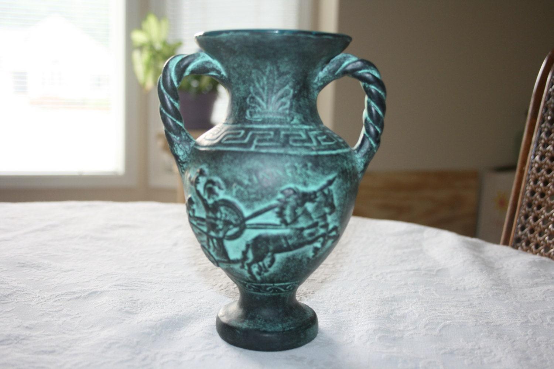 Vintage Ceramic Pottery Greek Greece Vase Urn Handles Greek