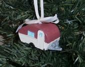 Maroon Retro Travel Trailer RV Christmas Vacation Ornament
