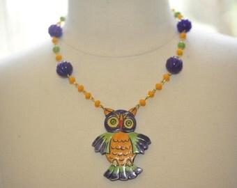SALE Handmade Vintage Purple and Orange Wooden Owl Necklace
