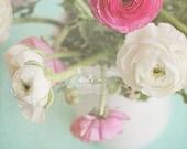 Spring Blooms- Ranunculus Flowers Photograph- Shabby Chic Floral Art- Pink White Aqua- Pastel Still Life- Feminine Decor- 8x8 Fine Art Print