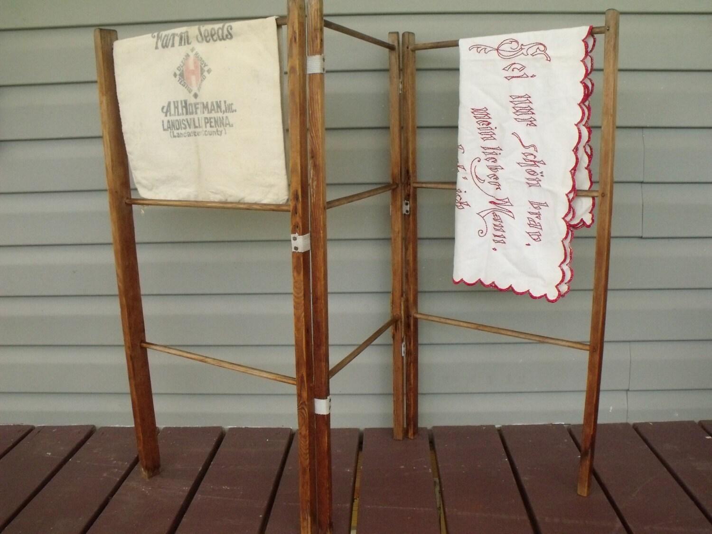 primitive winter hedge airer clothes drying wood tri fold. Black Bedroom Furniture Sets. Home Design Ideas