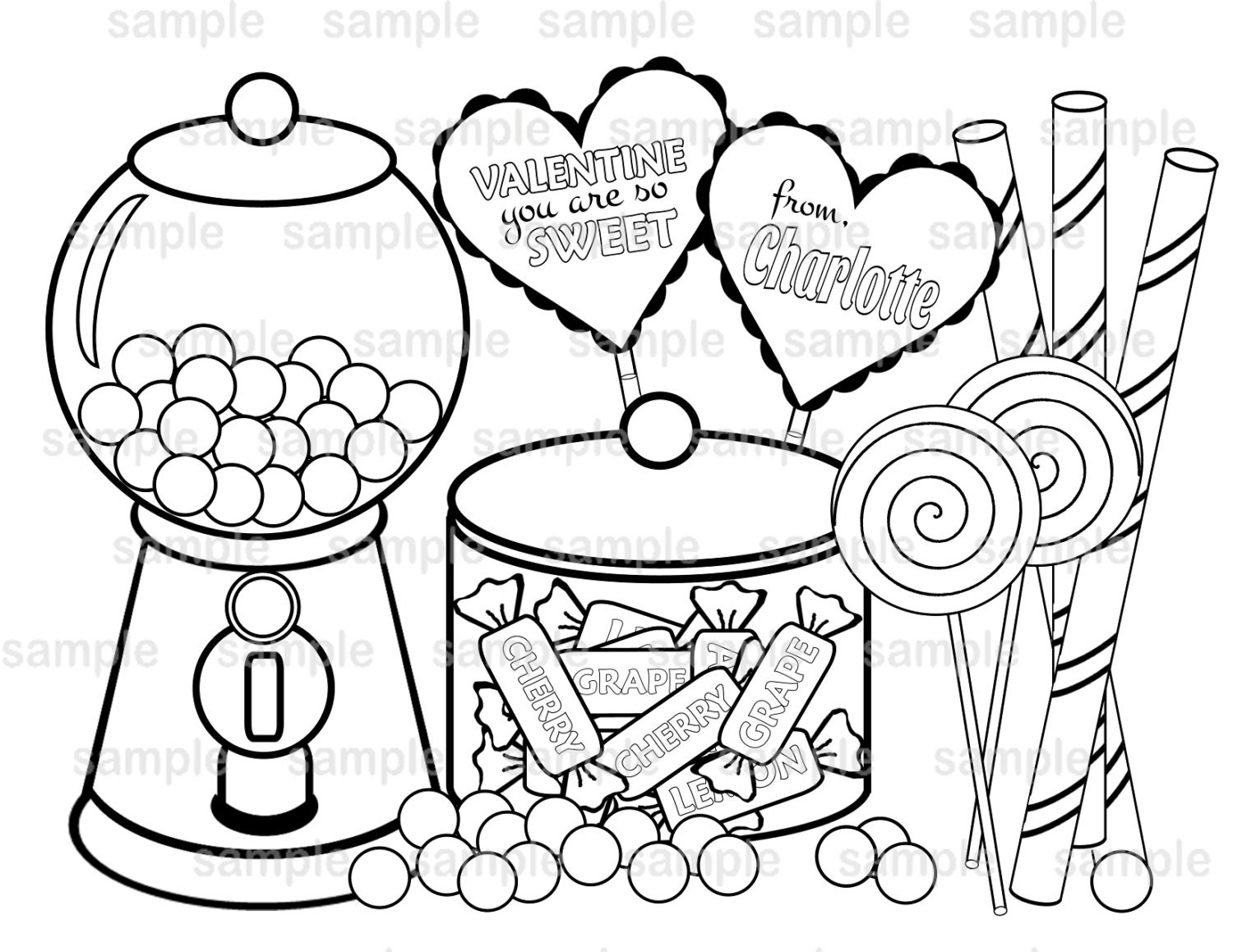 Valentines Coloring Pages Pdf : Personalized printable valentine s day sweet shopped