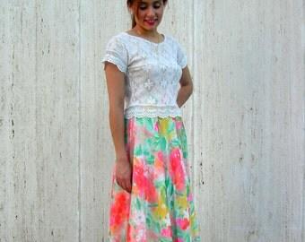 Vintage floral skirt dress beach spring
