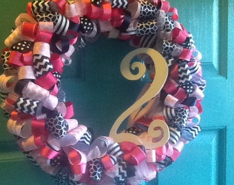 Navy and Pink Ribbon Wreath with Number- ribbon wreath home decor housewares birthday wreath party decoration number wreath chevron