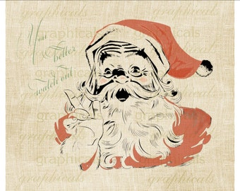 Red Santa Better Watch Out Instant digital download image for iron on fabric transfer burlap decoupage pillow card paper tag  Item No 1918