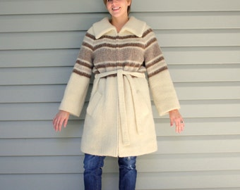 SALE 1970s Cream and Brown stripped sweater coat by Hilda Ltd. Size large L or XL 10 12 14