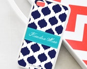 Navy Blue Clover Personalized iPhone Case - Monogrammed iPhone Case - iPhone 4 Case - iPhone 5 Case - iPhone 5s Case