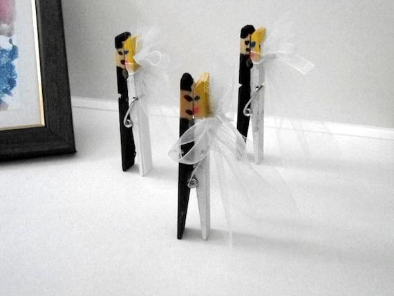 Pince linge main peint d coration de mariage mari e et le - Pince a linge mariage ...