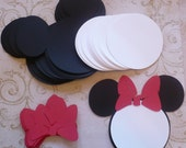25 Black Minnie Mouse Head Shapes White Circle Shapes Red Bows- Die Cut pieces for DIY Birthday Party Invitations