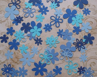Assorted Cricut Die Cut Flowers / Blooms over 50 pieces Embellishments Made from Blues cardstock