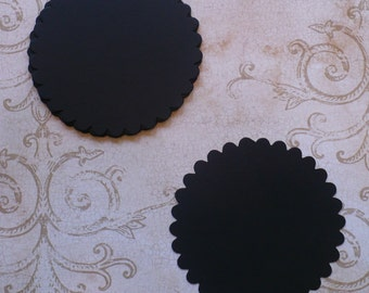 10 pc Large Scallop Circles Die Cuts cut from Black Cardstock 4 DIY Banners  Wedding Tags Crafts Labels