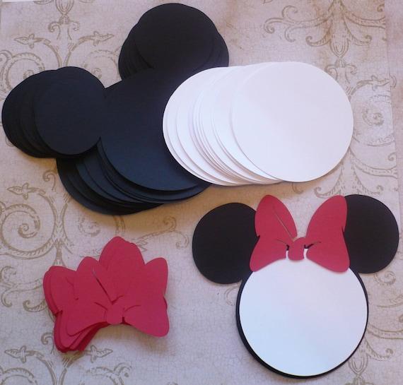 25 pi ces noir minnie mouse t te formes blanc cercle formes - Dessin tete de minnie ...