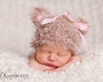 Adorable Newborn Fuzzy Baby Hat - Baby Bear Hat Soft Tan with Pink or Blue Ears with Ribbon Accent