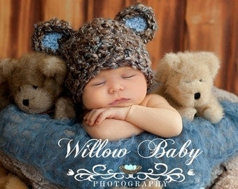 READY Baby Boy Hat  - Baby Bear Hat  - Baby Hat Made with Soft Chunky  Yarn 0 -12 months