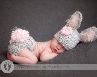 Too Cute Baby Girl Hat - Baby Bunny Hat & Diaper Cover Grey/White Tweed with Pink Accents
