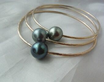 Set of 3 Custom Tahitian Pearl Bangles