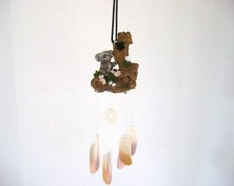 Windchime, driftwood windchime, ceramic koala windchime