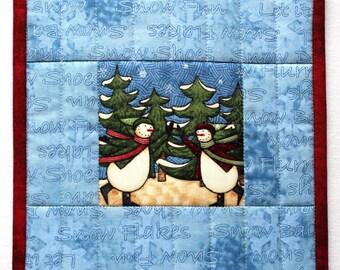 Quilted Snowman Trivet, Snowman Pot Holder, Christmas Trivet, Quilted Pot Holder, Winter Hot Pads, Casserole Mat, Quiltsy Handmade