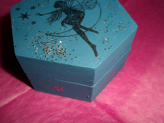 Fairy Jewellery Box - Hand Painted Wooden Hexagon Trinket Box