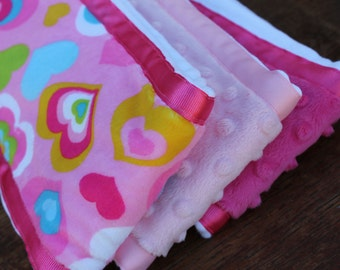 Set of 3 Matching Burp Cloths with Heart Print Minky and Coordinating Pink Minky with Ribbon Edging