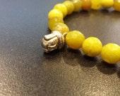 Lemon Green Jade Buddha Bracelet 8, stretch bracelet, Prosperity Gift, Sister Brother gift, Unisex gift