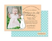 PAT the BUNNY Invitation, First Birthday, Photo Invitation, As Seen on Grey Likes Baby