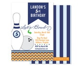 CHEVRON BOWLING Invitation- Navy, Orange, Green- Boys Birthday, Digital or Professionally Printed Invitation