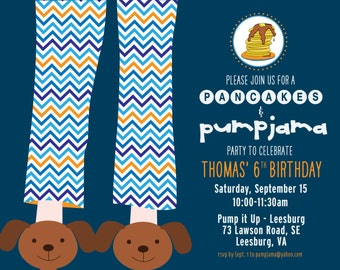 PANCAKES & PAJAMAS Birthday, Boy Invitation, Navy and Orange Chevron, PRINTABLE by Libby Lane Press
