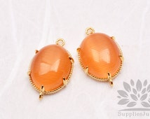 F122-G-SO// Gold Framed Orange Sun Opal Cats Eye Smooth Oval Glass Connector, 2 pcs