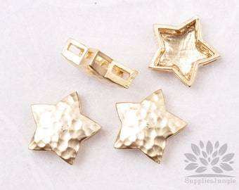 MB026-02-MG// Matt Gold Plated Star Shape Hammered Metal Beads, 4Pc