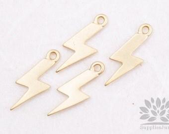 P428-02-MG// Matt Gold Plated Mini Lightning Pendant, 4pcs