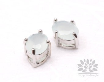 F116-01-S-MT// Original Rhodium Plated Framed MINT Faceted Oval Glass Pendant, 2 pcs